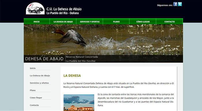 Página del Centro de Visitantes de la Dehesa de Abajo (Sevilla)