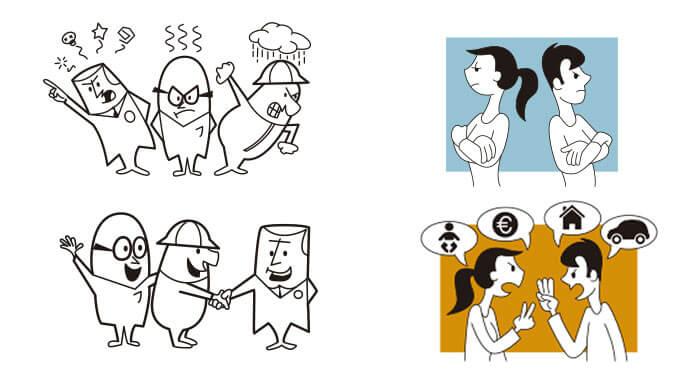 Ilustraciones para folletos publicitarios de MEDIACUERDO