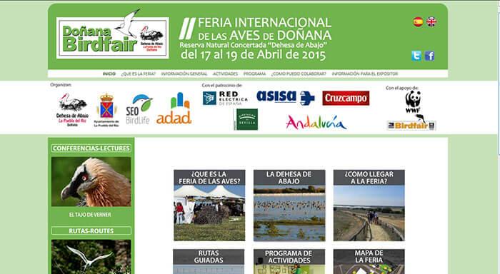 Web para la II Edición de la Feria de las Aves de Doñana